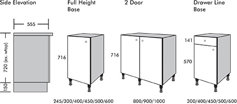 Kitchen unit dimensions | K2 Kitchens & Interiors